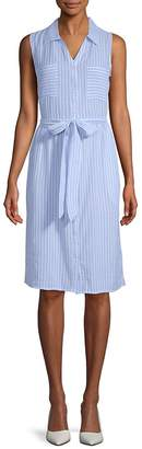August Silk Women's Striped Chambray Sleeveless Dress