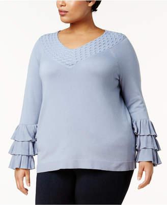 Love Scarlett Plus Size Ruffle-Sleeve Sweater