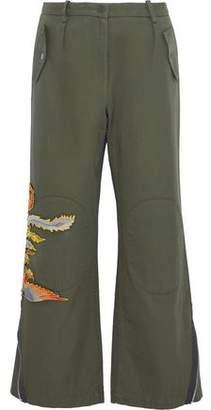 Sandro Appliquéd Cotton-Twill Wide-Leg Pants