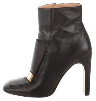 Sergio Rossi Leather Square-Toe Ankle Boots Black Leather Square-Toe Ankle Boots