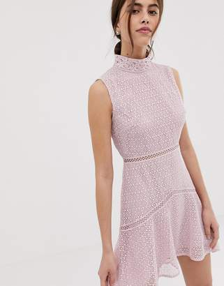 a5c78fed5407 True Decadence premium high neck lace midaxi dress with contrast trim in  pink