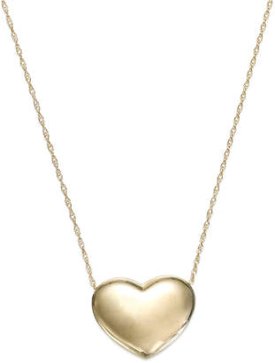 Signature Gold Puffed Heart Pendant Necklace in 14k Gold or 14k Rose Gold over Resin