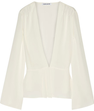 Elizabeth and James - Layla Pleated Georgette Wrap Blouse - Ivory $295 thestylecure.com