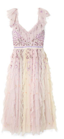 Needle & Thread - Rainbow Embellished Ruffled Tulle Midi Dress - Lavender