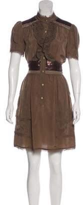 Anna Sui Short Sleeve Knee-Length Dress