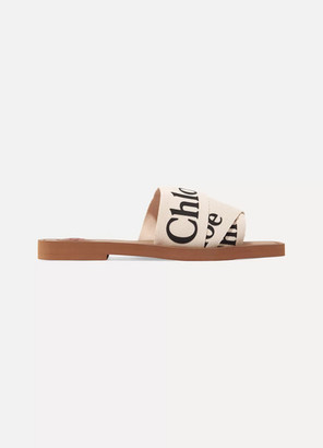 Chloé Woody Logo-print Canvas Slides - White