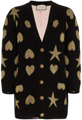 Gucci Hearts and stars wool-blend cardigan