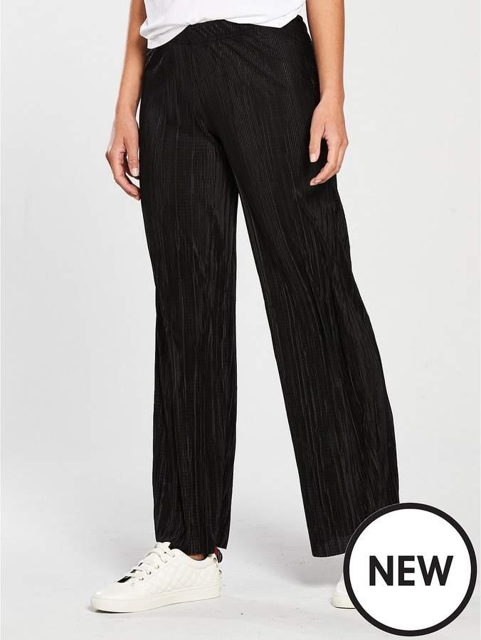 Wide Leg Plisse Trouser - Black