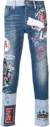 Dolce & Gabbana mural print two tone jeans