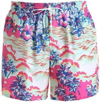 DSQUARED2 Underwear 32cm Hawaiian Printed Nylon Swim Shorts