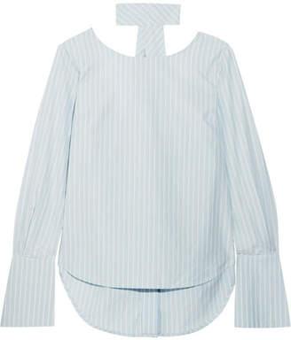 Frame Reverse Striped Cotton-poplin Shirt - Sky blue