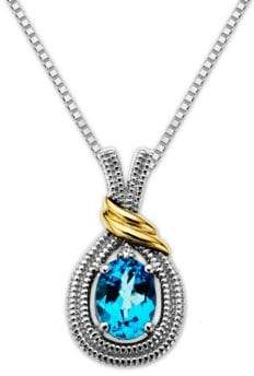 Lord & Taylor Sterling Silver Necklace with 14Kt. Yellow Gold Blue Topaz and Diamond Pendant
