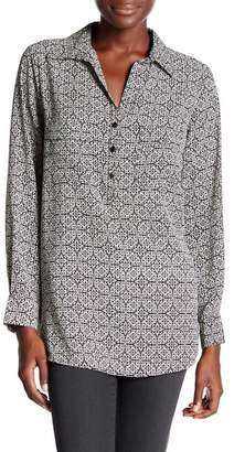 Pleione Printed V-Neck Blouse $78 thestylecure.com