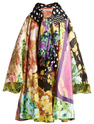 Richard Quinn Floral And Vintage Scarf Print Satin Coat - Womens - Multi