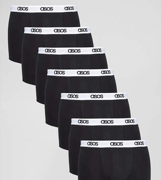 Asos Trunks In Black With Branded Waistband 7 Pack SAVE