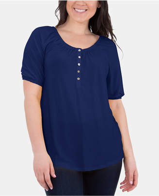 NY Collection Petite Scoop-Neck Peasant Top