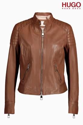 Next BOSS Womens HUGO Tan Leather Jacket Brown 8