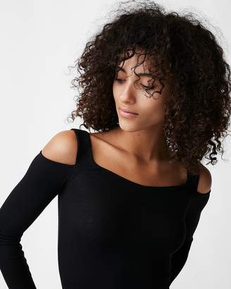 Express One Eleven Ribbed Off The Shoulder Thong Bodysuit