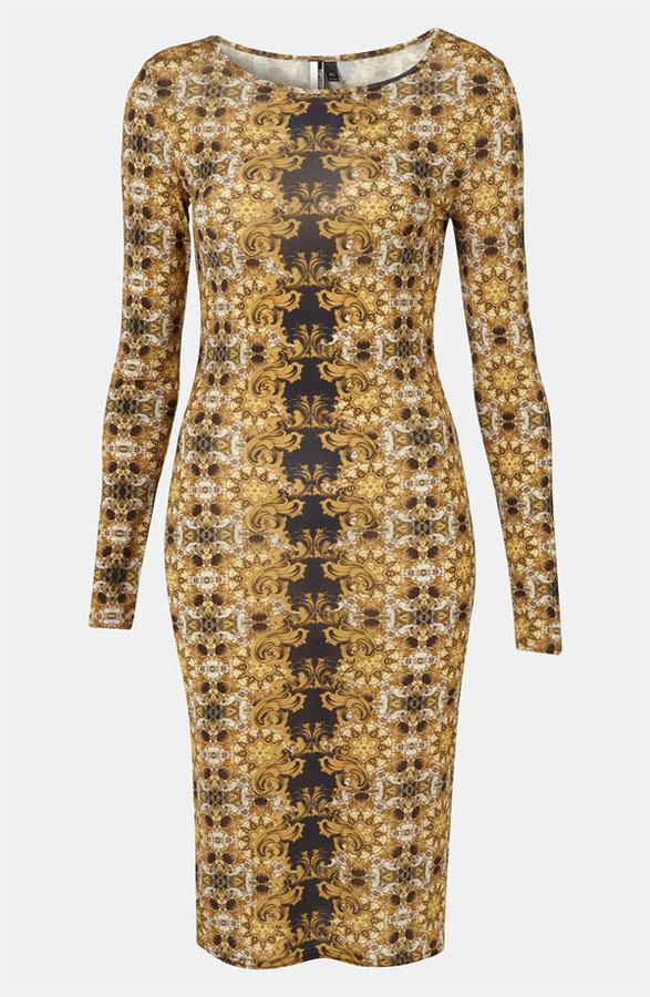 Topshop 'Baroque' Print Bodycon Dress