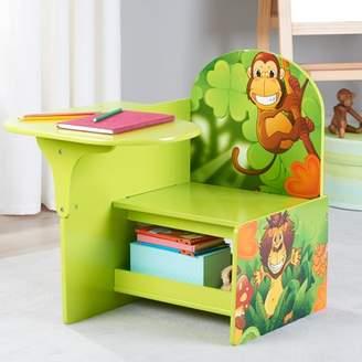Senda Jungle Kids Writing Desk and Chair with Storage Shelf