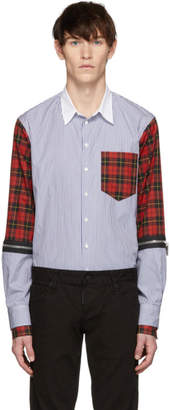 DSQUARED2 Multicolor Mixed Stripe and Check Military Shirt