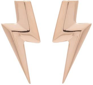Lightning Bolt Edge Only 3D Flat Top Earrings Gold