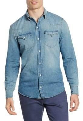 Ralph Lauren Purple Label Denim Vail Western Casual Button-Down Shirt