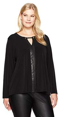 Calvin Klein Women's Plus Size Long Sleeve Top with Pu Placket
