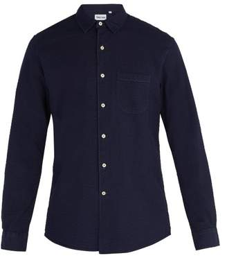 Thorsun - Seersucker Cotton Long Sleeve Shirt - Mens - Navy