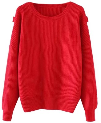 Goodnight Macaroon 'Eliza' Red Knitted Sweater