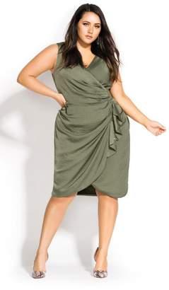 City Chic Ruffle Around Dress - moss