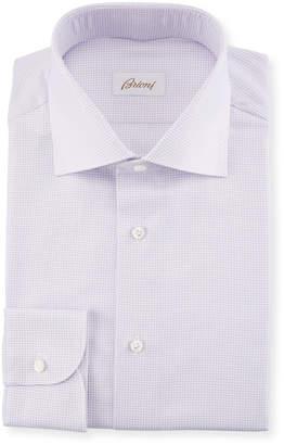 Brioni Basketweave Cotton-Silk Dress Shirt