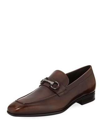 Salvatore Ferragamo Men's Gancini-Bit Leather Loafer, Brown