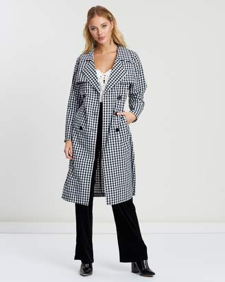 Almost Famous Gingham Trench Coat