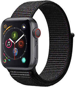 Apple Watch Series 4, GPS and Cellular, 40mm Space Grey Aluminium Case with Sport Loop, Black