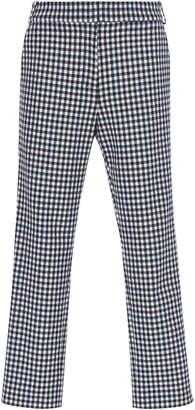 Tibi Beatle Cropped Gingham Twill Pants