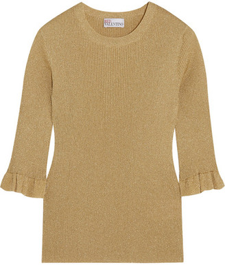 REDValentino - Metallic Ribbed-knit Sweater - Gold $450 thestylecure.com