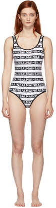 Balmain Black and White Logo Print One-Piece Swimsuit