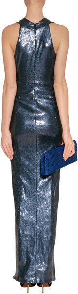 Donna Karan New Navy All-Over Sequined Gown