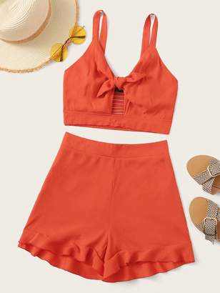 Shein Knotted Front Shirred Crop Top & Ruffle Hem Shorts Set