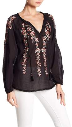 Love Sam Monika Embroidered Long Sleeve Blouse