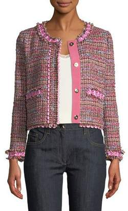 Moschino Flower-Trim Tweed Jacket