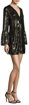Nanette Lepore Sequined Bell Sleeves Mini Dress
