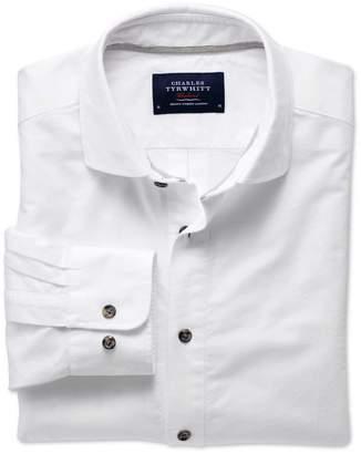 Charles Tyrwhitt Slim Fit Spread Collar Popover White Cotton Casual Shirt Single Cuff Size Medium