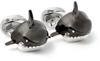 Deakin & Francis Shark Sterling Silver, Enamel And Diamond Cufflinks