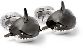 Deakin & Francis Shark Sterling Silver, Enamel and Diamond Cufflinks