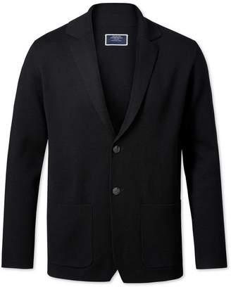 Charles Tyrwhitt Black Merino Wool Blazer Size XXL