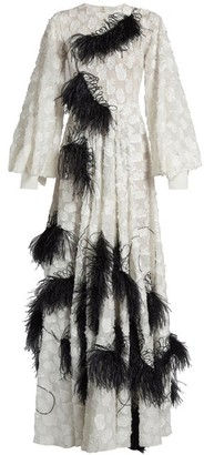 Roksanda Audra Feather Embellished Fil Coupe Gown - Womens - White Black
