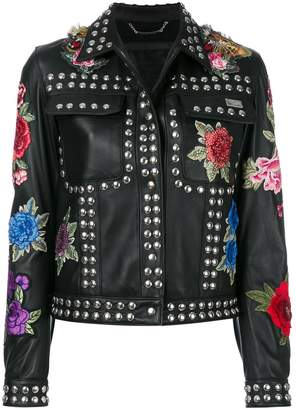 Philipp Plein studded rose patch jacket