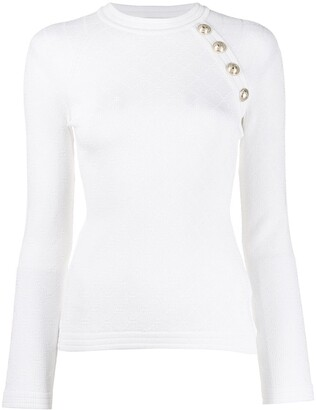 Balmain button-embellished knitted top
